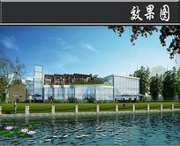 全透明玻璃建筑外立面效果图 JPG