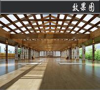 三角屋顶全木头健身房效果图 JPG