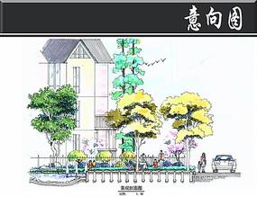 上海假日景观B区景观剖面图