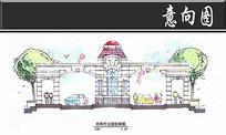 上海假日景观岗亭外立面剖面