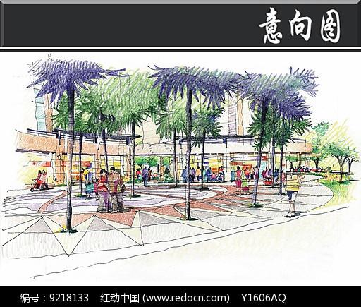 深圳某小区学府路入口透视手绘