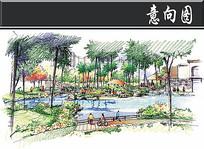 深圳某小区园林会所透视手绘图