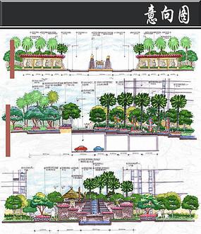 小区景观手绘剖面图
