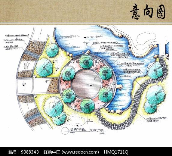 太极广场手绘平面图