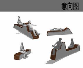 特色景观坐凳设计意向图
