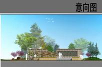 文化景墙立面图