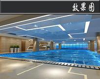现代风健身房游泳池效果图 JPG
