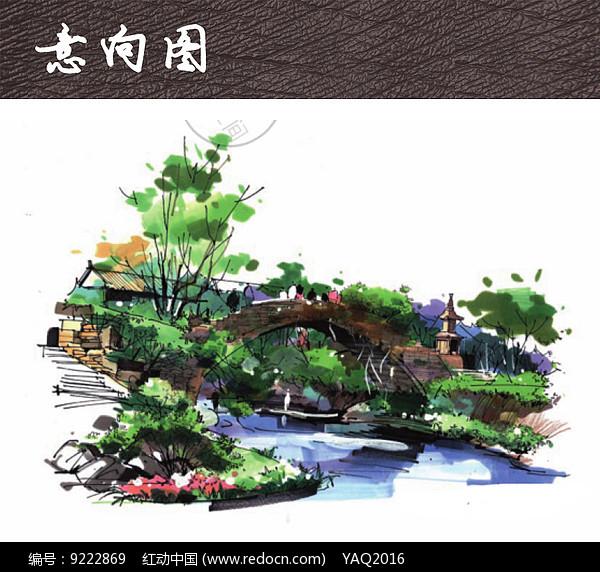 原创设计稿 方案意向 手绘素材 小桥溪水景观