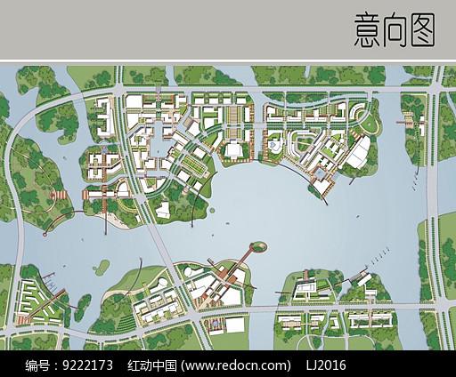 小区滨水景观平面图