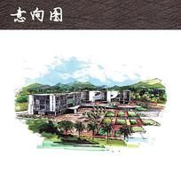 校园景观手绘