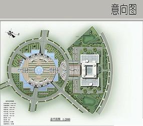 圆形水景广场彩平图