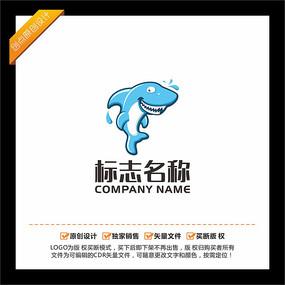 鲨鱼卡通LOGO设计