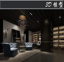 中式古典风图书馆模型