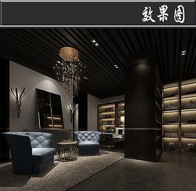 中式古典风图书馆效果图图片