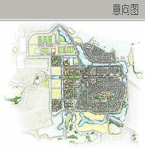住宅区手绘彩平图