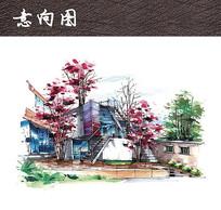 住宅庭院手绘
