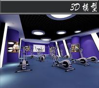 紫色背景健身房模型