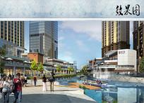 商业产业园区滨水景观效果图