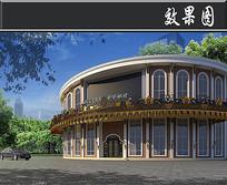 圆形欧式建筑酒吧门头效果图 JPG