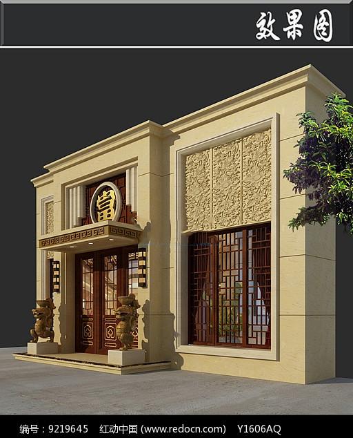 中式典当铺门头效果图图片