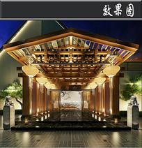 中式饭店门头效果图 JPG