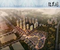 都市商业住宅鸟瞰图