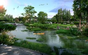 公园滨水效果图