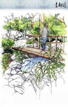 景区小桥景观节点手绘效果图