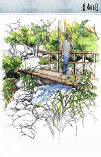 景区小桥景观节点手绘效果图 JPG