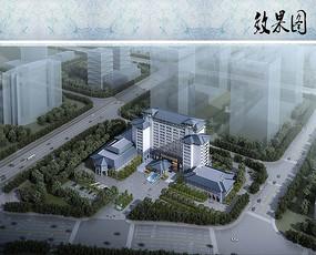 酒店建筑方案鸟瞰图