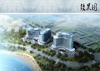 酒店建筑设计鸟瞰图 JPG