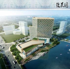 酒店建筑设计鸟瞰效果