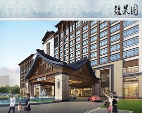 酒店建筑设计入口透视