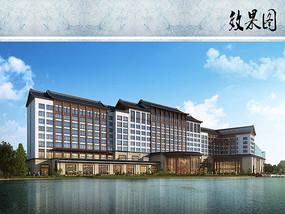 酒店建筑设计沿湖透视