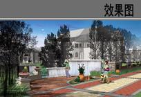 某花园别墅水源广场效果图