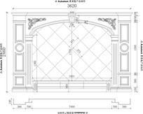 欧式电视背景墙CAD图纸