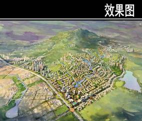 青岛某山区住宅规划鸟瞰图