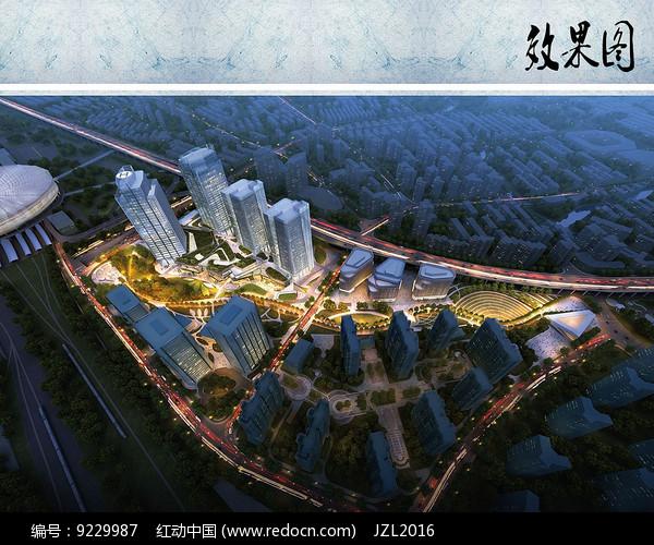 商业住宅区夜景鸟瞰图图片