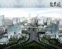 市政道路景观鸟瞰图