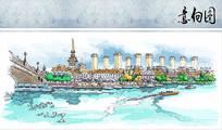水域商业风情街手绘图