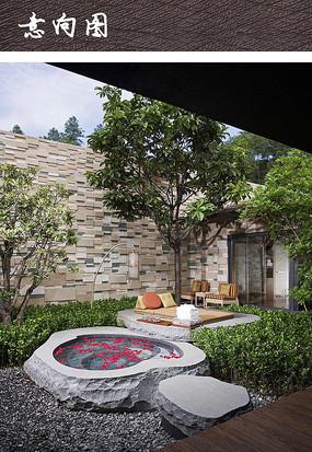 温泉别墅庭院景观