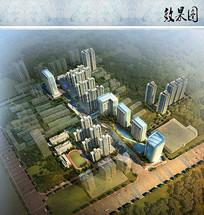 小区建筑规划鸟瞰图 JPG