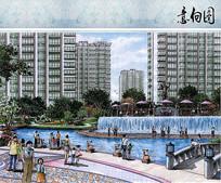 小区水景手绘