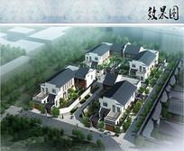 新中式别墅鸟瞰图