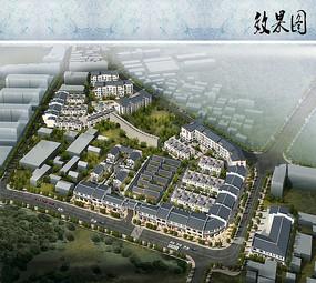 新中式小区规划鸟瞰图