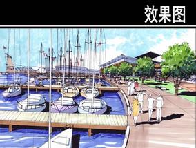 圆形住宅区水上平台效果图