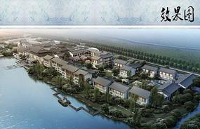 中式度假别墅滨水鸟瞰图