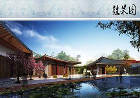 中式酒店建筑滨水效果图
