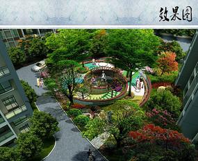 住宅区庭院景观效果图