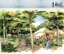 自然风景区手绘效果图
